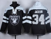 Mens Nfl Oakland Raiders #34 Bo Jackson Black (new Single Color) Hoodie Jersey