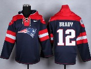 mens nfl New England Patriots #12 Tom Brady blue (new single color) hoodie jersey