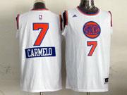 Mens Nba New York Knicks #7 Carmelo (2014 New Christmas) White Jersey