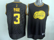 Mens Nba Los Angeles Clippers #3 Paul Black Precious Metals Fashion Swingman Jersey