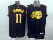 Mens Nba Los Angeles Clippers #11 Crawford Black Precious Metals Fashion Swingman Jersey