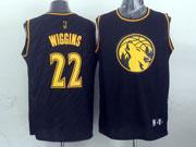 Mens Nba Minnesota Timberwolves #22 Wiggins Black Precious Metals Fashion Swingman Jersey