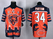 mens nfl Chicago Bears #34 Walter Paytonl orange&dark blue 2015 noble fashion elite jersey
