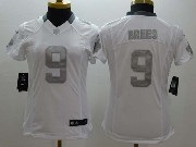 women  nfl New Orleans Saints #9 Drew Brees white (silver number) platinum limited