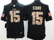 Mens Nfl Green Bay Packers #15 Starr Salute To Service Black Limited Jersey
