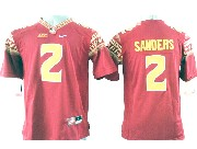 Youth Ncaa Nfl Florida State Seminoles #2 Sanders Red (gold Number) Jersey