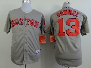 Mens Mlb Boston Red Sox #13 Ramirez Gray (red Number) Jersey (sn)