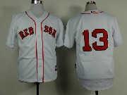 mens mlb boston red sox #13 white (2014 new no name) Jersey (sn)