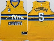 Mens Nba Denver Nuggets #5 Robinson Yellow (new Style) Jersey(p)