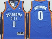 Youth Nba Oklahoma City Thunder #0 Russell Westbrook Blue Adidas Swingman Jersey