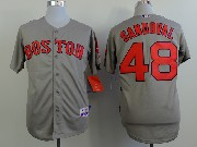 Mens Mlb Boston Red Sox #48 Sandoval Gray (red Number) Jersey