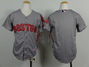 Mens Mlb Boston Red Sox(blank)gray (red Number) Jersey