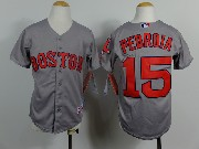 Mens Mlb Boston Red Sox #15 Pedroia Gray (red Number) Jersey