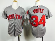 Mens Mlb Boston Red Sox #34 Ortiz Gray (red Number) Jersey