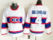 Mens nhl montreal canadiens #4 beliveau white (white number) classics throwbacks Jersey