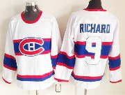 Mens nhl montreal canadiens #9 richard white (white number) classics throwbacks Jersey