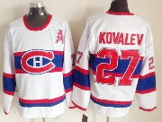 Mens nhl montreal canadiens #27 kovalev white (red number) classics throwbacks Jersey