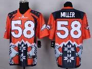 mens nfl Denver Broncos #58 Von Miller orange&dark blue 2015 noble fashion elite jersey