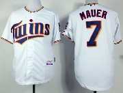 mens mlb minnesota twins #7 mauer white (2015 new) Jersey