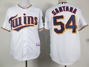 mens mlb minnesota twins #54 santana white (2015 new) Jersey