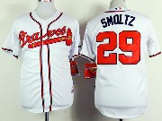 Mens mlb atlanta braves #29 smoltz white Jersey