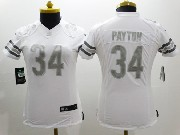 women  nfl Chicago Bears #34 Walter Payton white (silver number) platinum limited jersey