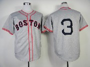 Mens Mlb Boston Red Sox #3 Gray Throwbacks (no Name) Jersey