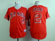 Mens mlb los angeles angels #2 aybar red Jersey