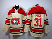 mens nhl Montreal Canadiens #31 Carey Price cream hoodie jersey