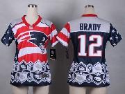 women  nfl New England Patriots #12 Tom Brady blue 2015 noble fashion elite jersey
