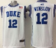 Mens Ncaa Nba Duke Blue Devils #12 Winslow White (round Neck) Jersey