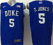 Mens Ncaa Nba Duke Blue Devils #5 T.jones Blue (v Neck) Jersey