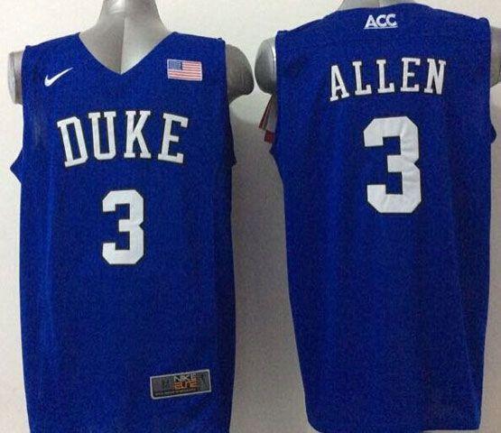 Mens Ncaa Nba Duke Blue Devils #3 Allen Blue (v Neck) Jersey