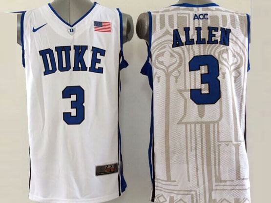 Mens Ncaa Nba Duke Blue Devils #3 Allen White (v Neck Blue-coliar) Jersey