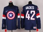 Mens nhl captain america #42 backes blue Jersey