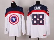 Mens nhl captain america #88 kane white Jersey