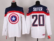 Mens nhl captain america #20 suter white Jersey