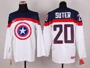 Mens nhl captain america #20 suter white Jersey