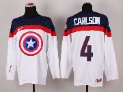 Mens nhl captain america #4 carlson white Jersey