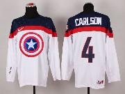 Mens nhl captain america #4 carlson white Jersey