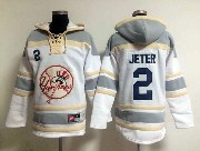 Mens Mlb New York Yankees #2 Derek Jeter White&gray (team Hoodie) Jersey