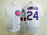 mens mlb chicago cubs #24 fowler white (blue stripe) Jersey sn