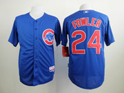 Mens Mlb Chicago Cubs #24 Fowler Blue Jersey Sn