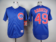 Mens Mlb Chicago Cubs #49 Jake Arrieta Blue Jersey