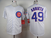 Mens Mlb Chicago Cubs #49 Jake Arrieta White Stripe Jersey