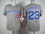 Mens Mlb Chicago Cubs #23 Sandberg 1990 Turn Back The Clock Gray Jersey