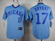 Mens Mlb Chicago Cubs #17 Bryant Blue (white Stripe) Pullover Jersey