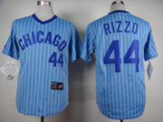 Mens Mlb Chicago Cubs #44 Rizzo Blue (white Stripe) Pullover Throwbacks Jersey