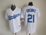 Mens mlb los angeles dodgers #21 greinke white (majestic) Jersey