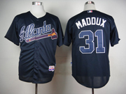 Mens mlb atlanta braves #31 maddux blue throwbacks Jersey